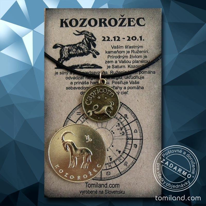 Prívesok pre Kozorožca spolu so zlatou mincou.