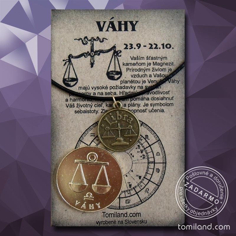 Znamenie Váhy - prívesok s koženou šnúrkou a minca pre šťastie.