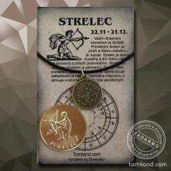 Prívesok Strelec s koženou šnúrkou a zlatá minca.