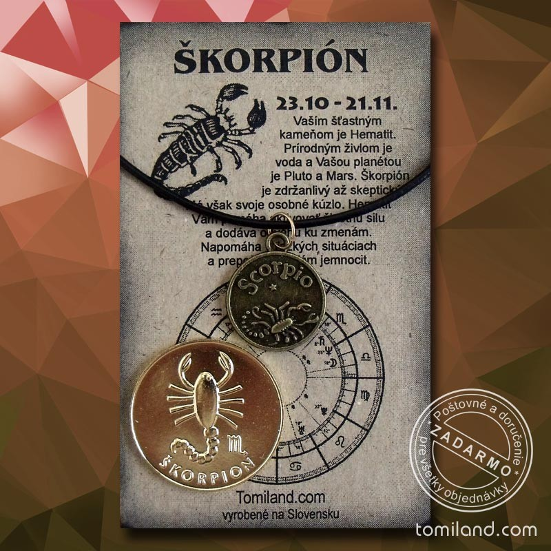 Prívesok škorpión s čiernou koženou šnúrkou a zlatá minca minca.