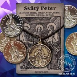 Svätý Peter prívesok s ochrannou mincou pre veriacich.