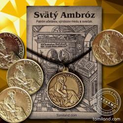 Prívesok Svätý Ambróz s mincou pre šťastie.