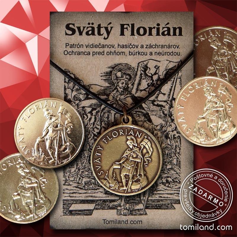 Prívesok Svätý Florián so zlatou mincou.