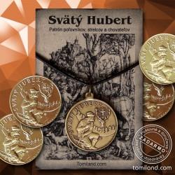 Svätý Hubert prívesok a minca.