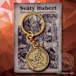 Predávame obojstranný kovový prívesok na kľúče s nápisom Patrón Poľovníkov.